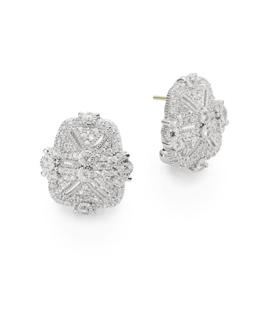 Judith Ripka | Metallic Estate White Sapphire & Sterling Silver Pavà Earrings | Lyst