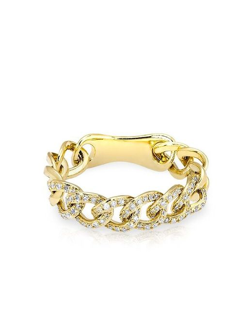 Anne Sisteron | Metallic 14kt Yellow Gold Diamond Chain Link Light Ring | Lyst