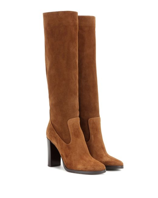 jimmy choo honor 95 suede knee high boots in brown lyst