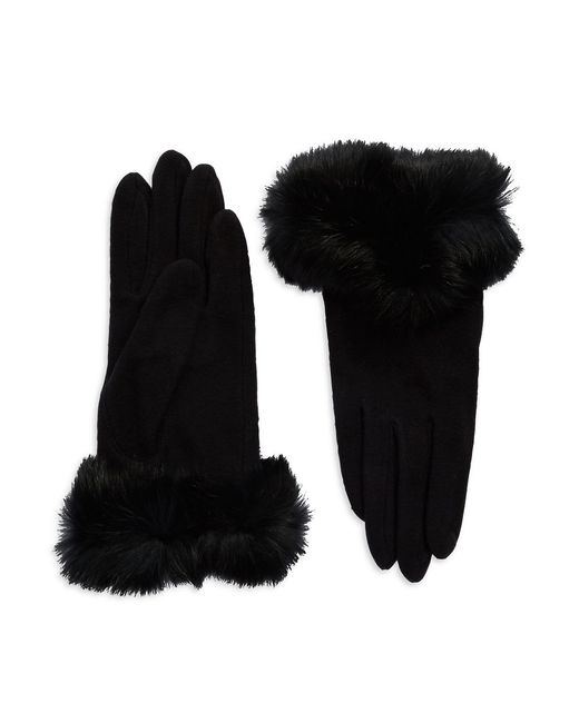 Carolina Amato | Black Rabbit Fur-trimmed Gloves | Lyst
