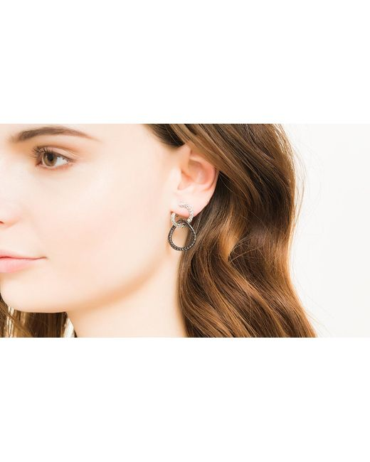 John Hardy | Classic Chain Drop Earring With Black Sapphire | Lyst