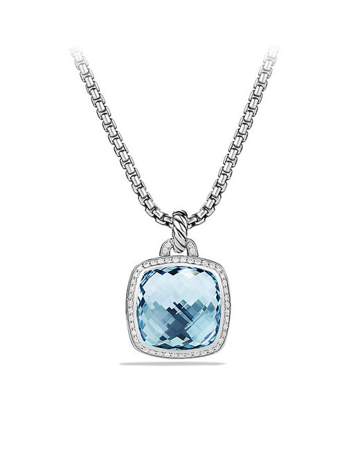 David Yurman | Albion Pendant With Blue Topaz And Diamonds, 17mm | Lyst