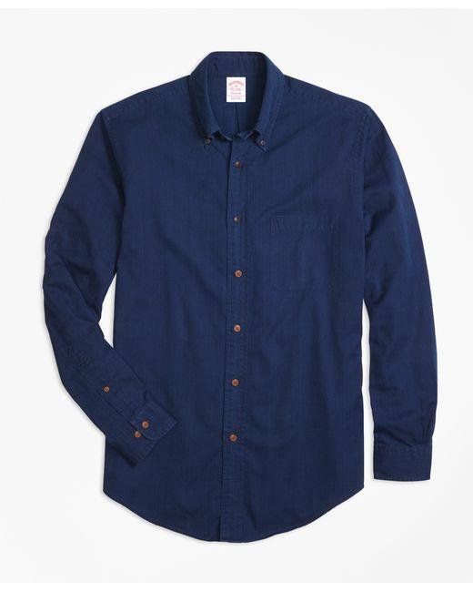 Brooks brothers madison fit indigo dobby sport shirt in for Brooks brothers sports shirts