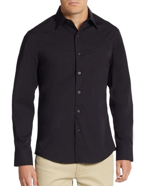 Vince Camuto | Black Regular-fit Mock-pocket Sportshirt for Men | Lyst