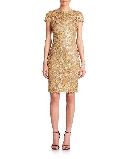 Tadashi Shoji | Gold Cord-embroidered Lace Cocktail Dress | Lyst