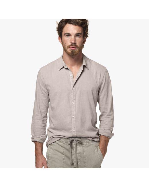 james perse standard shirt in beige for men dapple