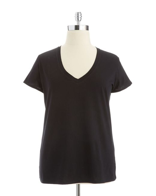 Lord & Taylor | Black V Neck Tee | Lyst