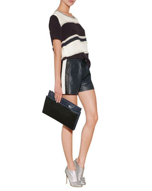 Jonathan Simkhai | Leather Side Stripe Shorts In Navy - Blue | Lyst