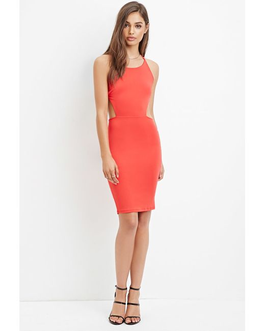 Forever 21 | Red Ruched Strappy Back Dress | Lyst
