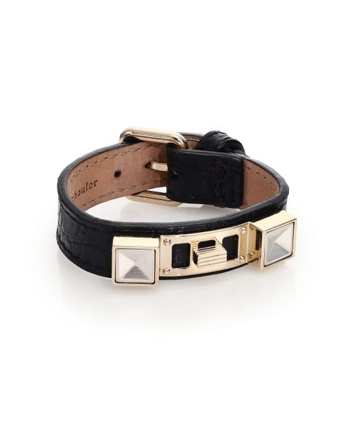 Proenza Schouler | Black Ps11 Small Crocodile-embossed Leather Bracelet | Lyst