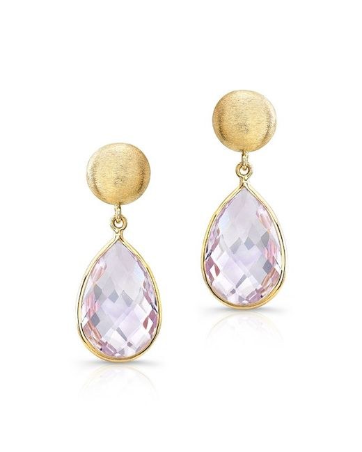 Anne Sisteron | Metallic 14kt Yellow Gold Pink Amethyst Pear Drop Earrings | Lyst