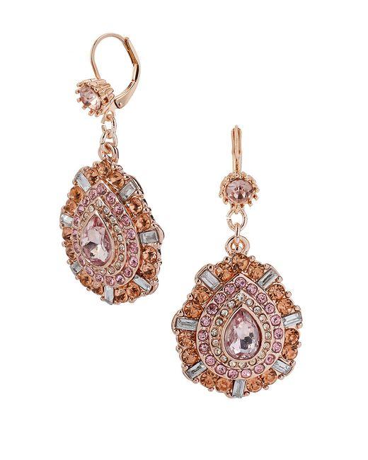 Betsey Johnson   Metallic Mixed Pink Bead Teardrop Earrings   Lyst