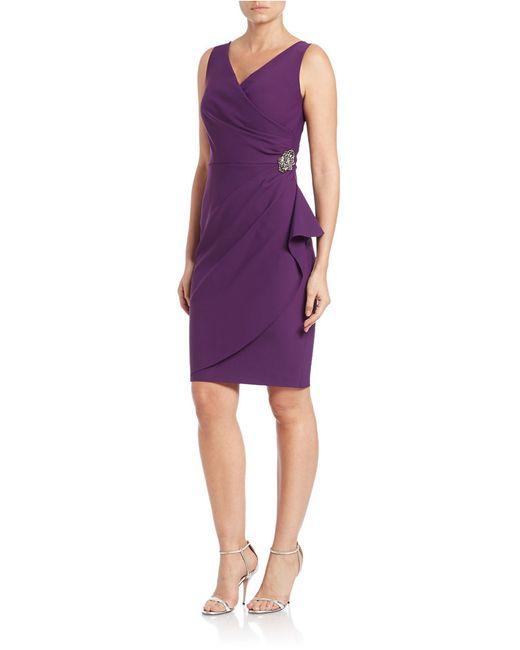 Alex Evenings   Purple Pleated Surplice Sheath Dress   Lyst