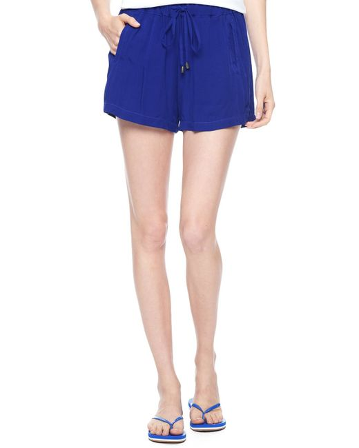Splendid | Blue Rayon Voile Shorts | Lyst