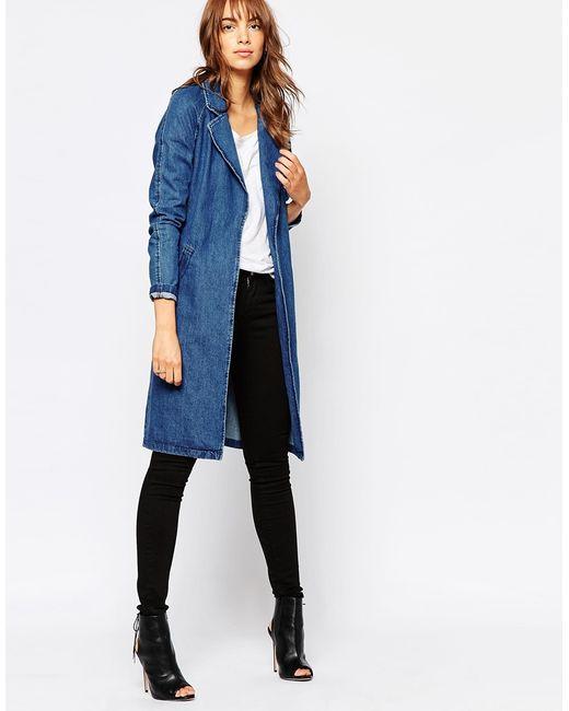 Vero moda Belted Denim Duster Coat in Blue (Mediumdenimblue) | Lyst