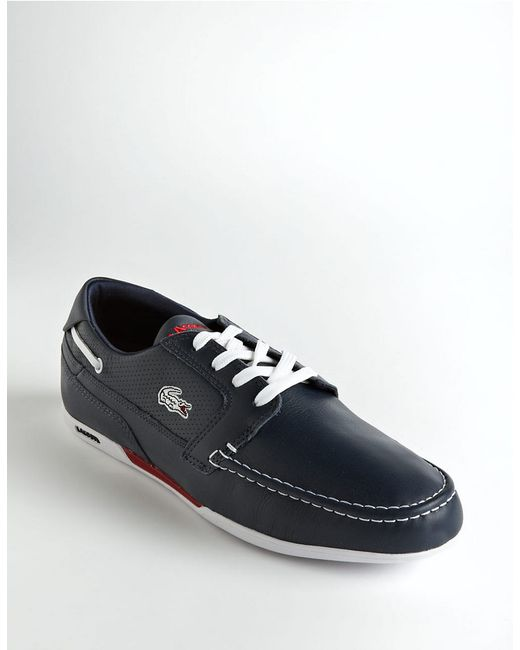 lacoste dreyfus leather boat shoes in blue for blue