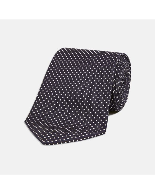 turnbull asser black and white small spot printed silk