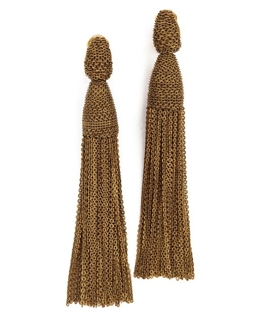Oscar de la Renta | Metallic Long Chain Tassel Earrings | Lyst