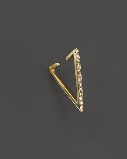 Zoe Chicco   Metallic 14k Gold Reversible Triangle Ear Cuff With Pavé Diamonds   Lyst