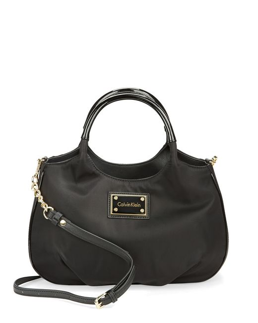 calvin klein nylon shopper bag in black black gold lyst. Black Bedroom Furniture Sets. Home Design Ideas