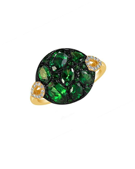 Marco Moore | Green Tsavorite, Diamond And 14k Yellow Gold Ring | Lyst