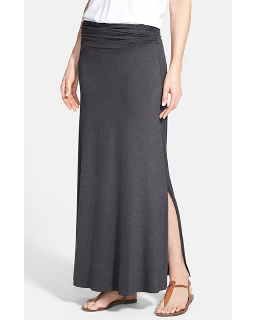 bobeau ruched waist side slit maxi skirt in gray