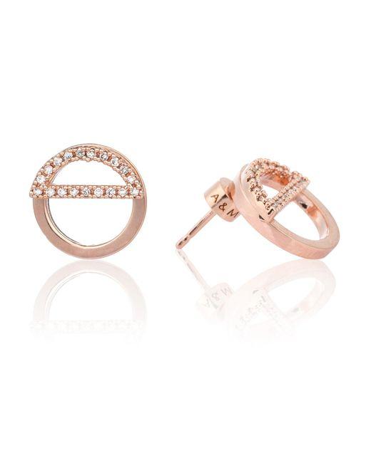 Astrid & Miyu | Metallic Half Circle Ear Jacket In Rose Gold | Lyst
