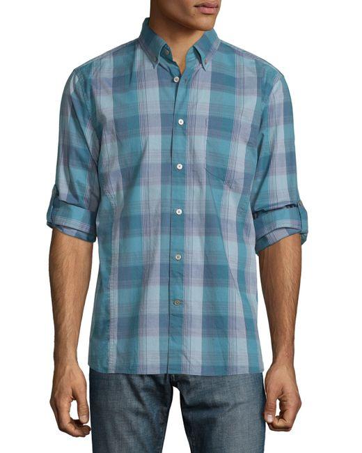 John Varvatos Check Roll Tab Sport Shirt In Blue For Men