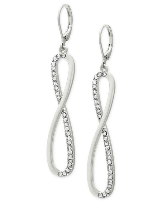 Tahari | Metallic T Crystal Twist Loop Earrings | Lyst
