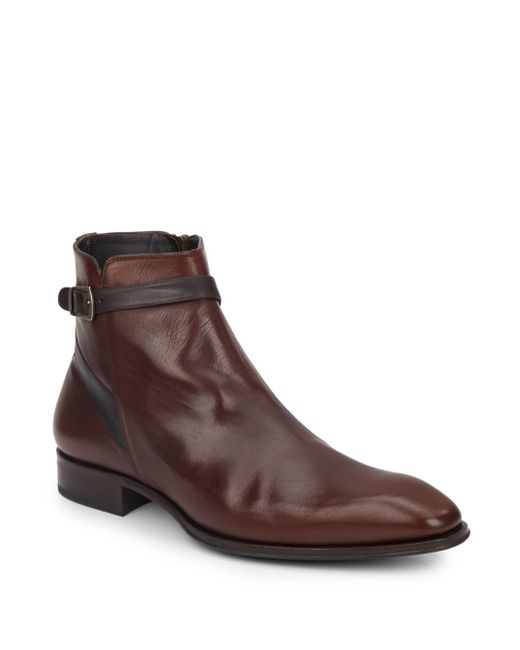 mezlan buckle leather boots in brown for lyst