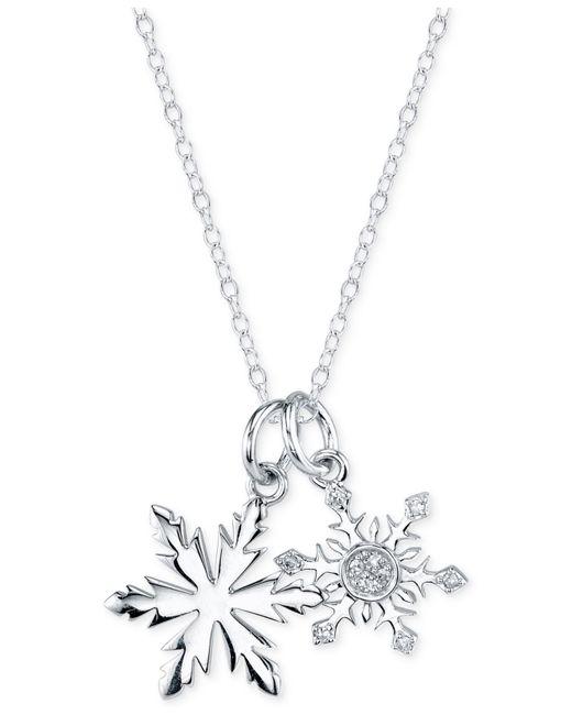 Disney   Metallic Frozen Diamond Accent Snowflake Pendant Necklace In Sterling Silver   Lyst