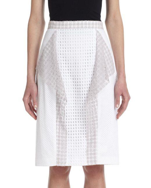 3.1 Phillip Lim | White Draped-panel Stretch Cotton Eyelet Skirt | Lyst