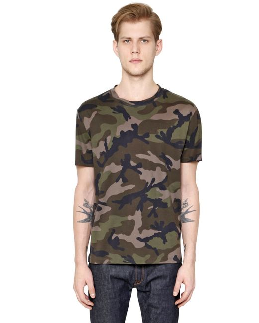 Valentino outline camo print t shirt in green for men for Camouflage t shirt printing