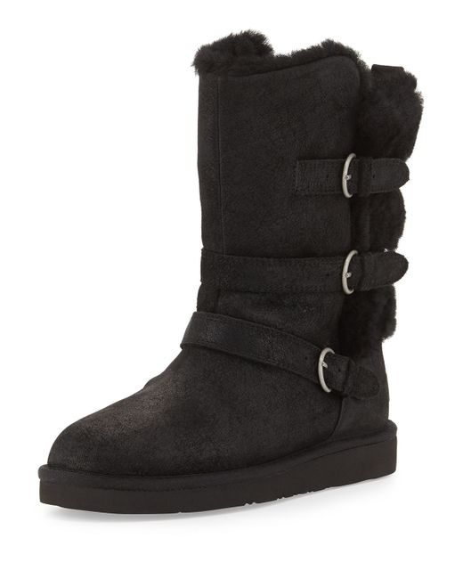 Ugg | Black Becket Shearling Triple-Buckle Boots | Lyst