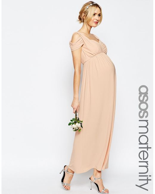 Asos maternity wedding drape cold shoulder maxi dress in for Maternity maxi dress for wedding