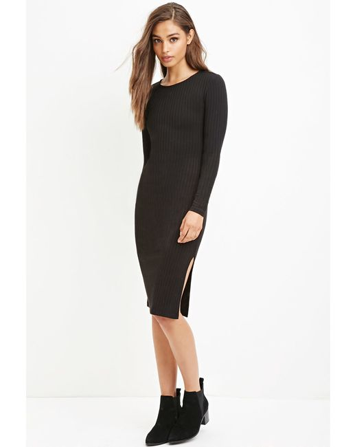 Forever 21 | Black Ribbed Bodycon Midi Dress You've Been Added To The Waitlist | Lyst