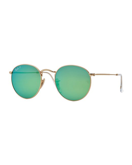 Ray-ban Polarized Round Metal-frame Sunglasses With Green ...