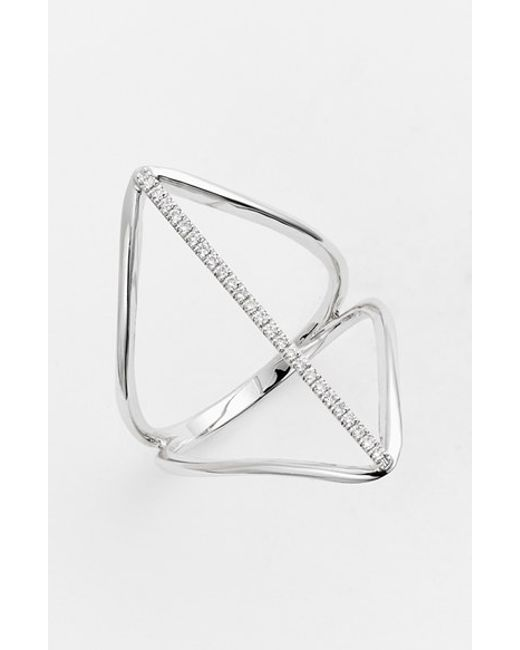 Bony Levy | Metallic 'prism' Diamond Pave Elongated Bar Ring (nordstrom Exclusive) | Lyst