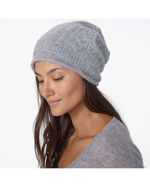 James Perse | Gray Cashmere Cable Knit Beanie | Lyst
