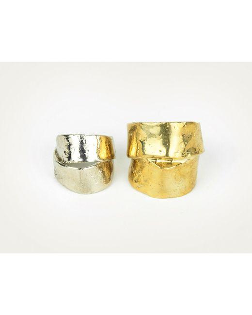 Mor | Metallic Chunky Silver Ring L | Lyst