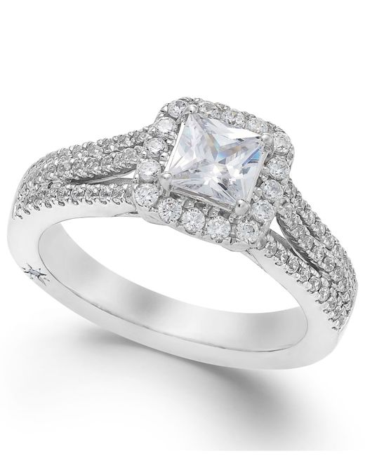 Marchesa | Celeste Halo By Certified Diamond Split Shank Engagement Ring In 18k White Gold (1-1/5 Ct. T.w.) | Lyst