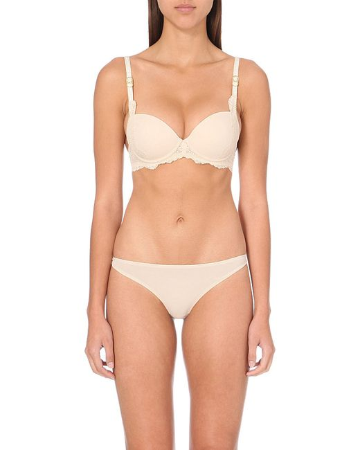 Stella McCartney | Pink Stella Smooth Lace Half-cup Bra | Lyst