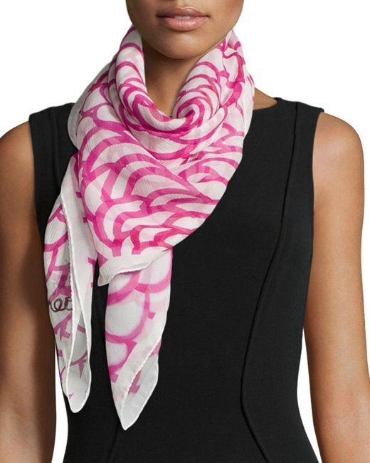 coroneo camellia classic chiffon square scarf in pink