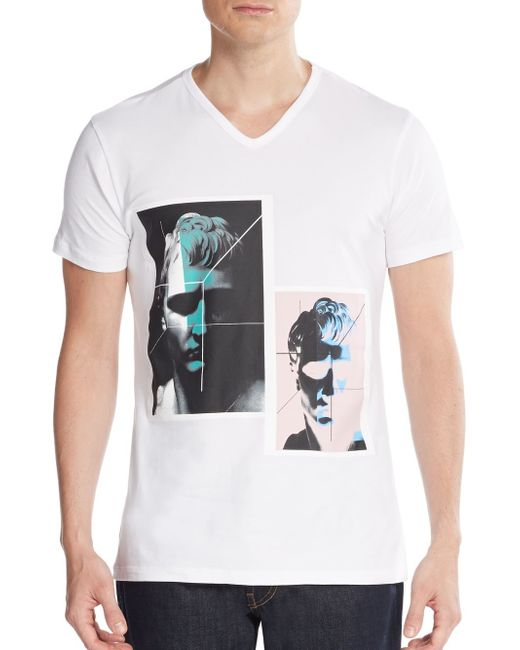 Emporio Armani | White Photo-print Cotton Tee for Men | Lyst