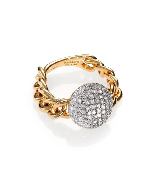 Phillips House | Metallic Affair Diamond & 14k Yellow Gold Infinity Mini-chain Link Ring | Lyst
