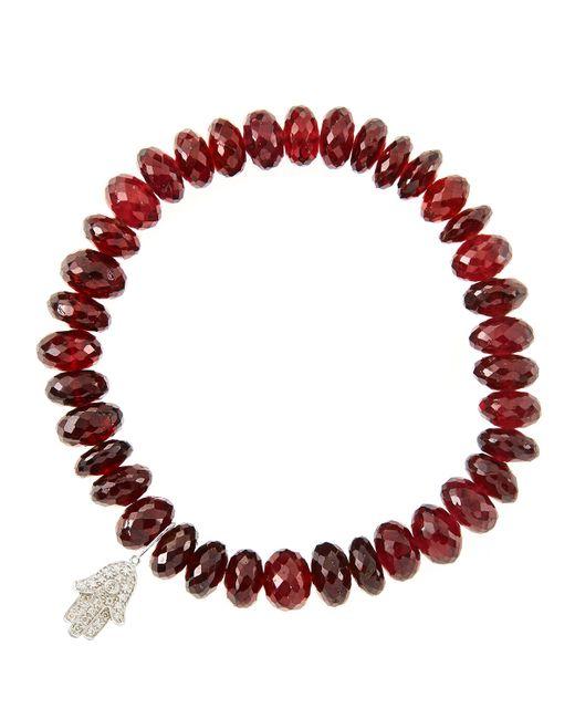 Sydney Evan | 8Mm Faceted Garnet Beaded Bracelet With 14K White Gold/Diamond Small Hamsa Charm (Made To Order) | Lyst