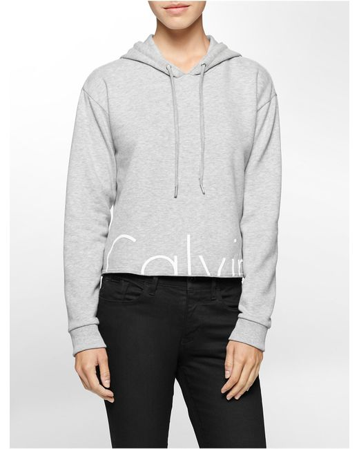 calvin klein jeans cropped logo hoodie in gray lyst. Black Bedroom Furniture Sets. Home Design Ideas
