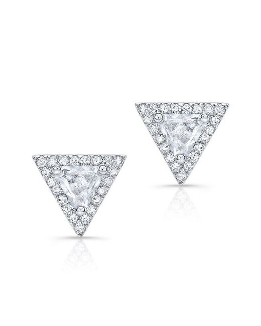 Anne Sisteron - 14kt White Gold White Topaz Triangle Diamond Stud Earrings - Lyst