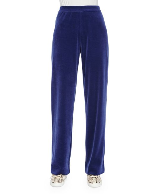 Joan Vass | Blue Velour Full-length Jog Pants | Lyst