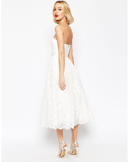 Asos Bridal Lace Bandeau Midi Prom Dress With Crop Jacket